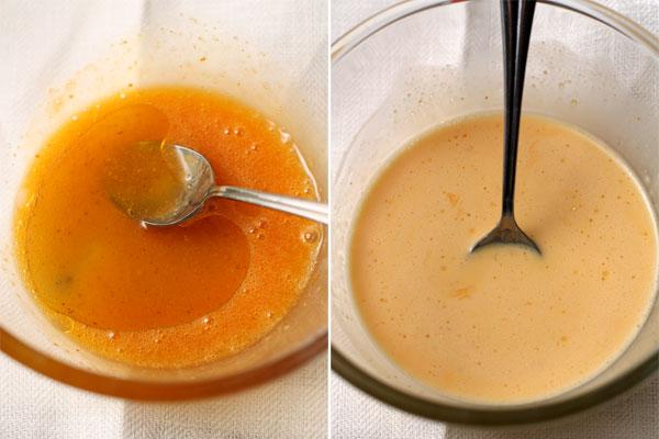 Поочередно добавьте уксус (если свекла вареная, а не маринованная), масло и сливки, каждый раз перемешивая до однородности.
