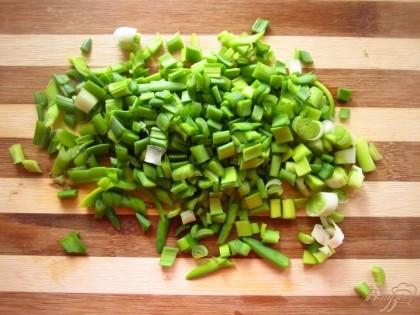 Зеленый лук помыть и мелко нарезать. Лука не жалейте чем его больше,тем вкуснее оладки.
