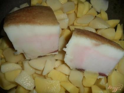 Сало посолить. В чугунок порезать небольшими кусочками половину картофеля, положить на него сало, и накрыть остальным порезанным картофелем.