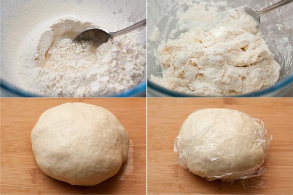 Для теста в широкую миску просейте муку, добавляем соль, масло и 125 мл воды.Замешайте тесто и интенсивно месите не менее 10 минут, чтобы тесто стало гладким, шелковистым и очень эластичным и потом с ним было легко работать.  Скатайте тесто в шар, смажьте его поверхность маслом, заверните в пищевую пленку и оставьте на 30-40 минут отдыхать. Не пренебрегайте этим моментом, чтобы потом не испытывать сложностей с растягиванием теста.