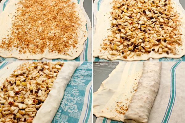 Смажьте тесто растопленным маслом и посыпьте подготовленными сухарями. Отступите от краев по 4-5 см, а с одной из длинных сторон оставьте 15 см — это будет верхний, хрустящий слой штруделя.   Поверх сухарей равномерно выложите начинку. Загните тесто на начинку с длинной стороны (где мы оставили небольшой свободный край теста) при помощи полотенца. Загните также края теста с боков, чтобы начинка не вытекала при выпечке.