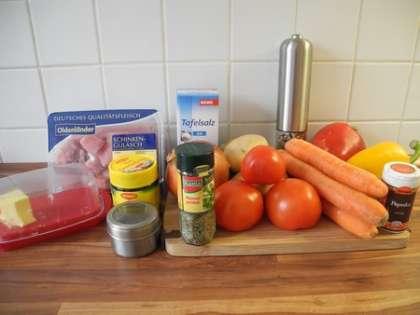 Для приготовления гуляшевого супа нам понадобится: