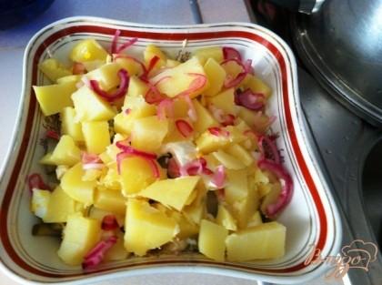 Далее остальной картофель и сверху немного лука, яйца и огурца.