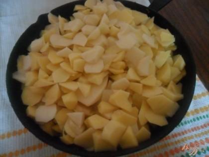 На верх мяса кладем картофель, солим, добавляем немножко воды накрываем крышкой и отправляем в разогретую до 180 градусов духовку.