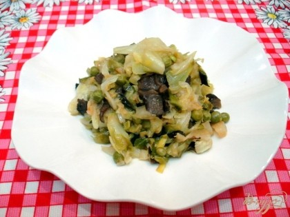 жареная капуста с грибами рецепт с фото
