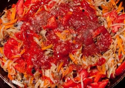 Поперчить, посолить, посыпать молотым кориандром, добавить кетчуп, перемешать, немного обжарить.