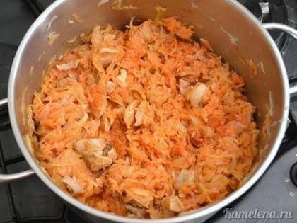 Добавить томатную пасту, посолить, поперчить, хорошо перемешать. Тушить еще 20 минут.