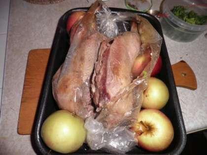 Поместить в холодную духовку и запекать 2 часа при температуре 230 градусов. За 20 минут до окончания запекания вынуть противень с уткой, разрезать рукав, раскрыть его, чтобы утка подрумянилась. В противень налить чашку воды и положить яблоки.