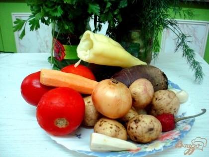 Для его приготовления нам понадобится такой набор овощей свекла, картофель, лук, морковь, корень петрушки, помидоры, два вида перцев, чеснок и конечно-же зелень.