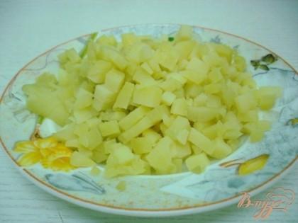 Мелко порезать картофель.