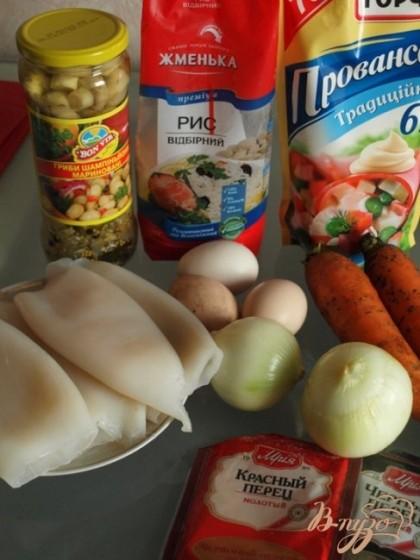 Подготовим продукты для приготовления фаршированных кальмаров.