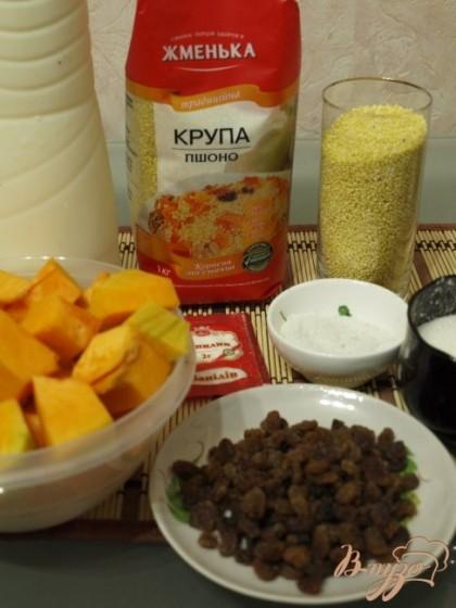 Подготовим продукты для каши - пшено, молоко, тыкву, сухофрукты, соль, сахар, ванилин.