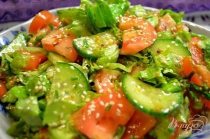 рецепты салатов с кунжутными семечками