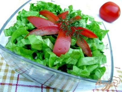 Готово! Украсить салат помидором и укропом.Салат можно не выкладывать слоями, а смешать все ингредиенты. Дать пропитаться в течении 30 минут и подать к столу.Приятного аппетита!