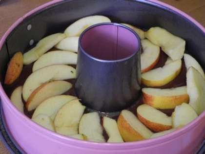 Выложить по кругу половину яблочных долек