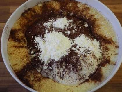 К яично-сахарной смеси добавить муку, крахмал и какао, тщательно перемешать