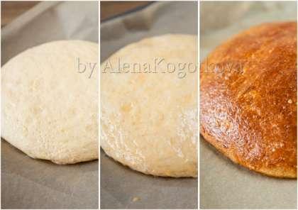 Достать тесто. Сформировать его в форме круга (26 см в диаметре). Противень застелить бумагой для выпечки. Положить тесто на противень. Накрыть пленкой и дать подняться в теплом месте (около 2-3 часов).