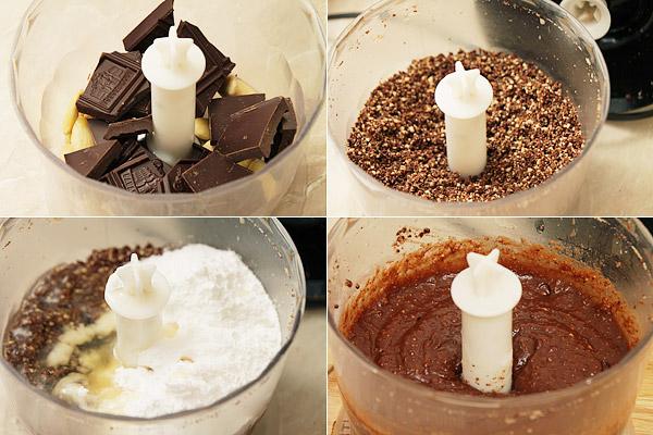 Смолоть миндаль и шоколад в блендере до состояния мелкой крошки, добавить ром (1 ст.л.), белок, сахарную пудру, ещё раз всё смешать с помощью блендера в течение где-то 3 минут. Шоколад должен хорошо соединиться с жидкими компонентами. Если марципан получится жидковатым, ничего страшного. Убираем его в холодильник на час.