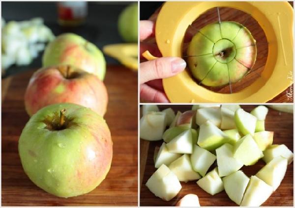 Чистим и режем яблоки. Попробуйте, если кожица толстая, лучше снять. А тонкая и так стушится.
