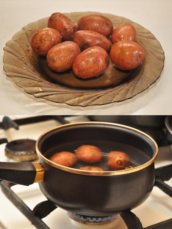 Отварите картофель до полу готовности в подсоленной воде (12-15 минут)
