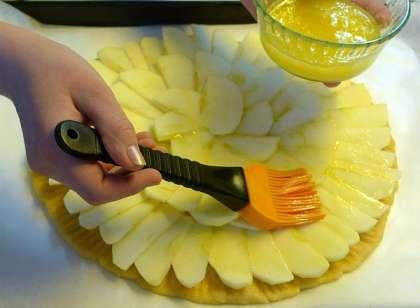 Яблоки нарезать тонкими ломтиками. Поверх круга из теста разложить ломтики яблок, рукой прижимая их поплотнее.
