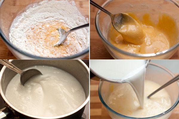 Пока тесто охлаждается, можно приготовить заварной крем. Для этого смешайте яичные желтки с сахарной пудрой и мукой, чтобы получилась однородная масса.  Кокосовое (или обычное) молоко вскипятите со стручком ванили и сахаром. Немного горячего молока влейте в желтки, хорошо перемешайте, а затем вылейте смесь обратно в кастрюлю (предварительно удалив ваниль).