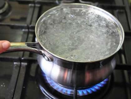 Возьмите кастрюлю и налейте туда воды. Включите плиту и поставьте кастрюлю на огонь.