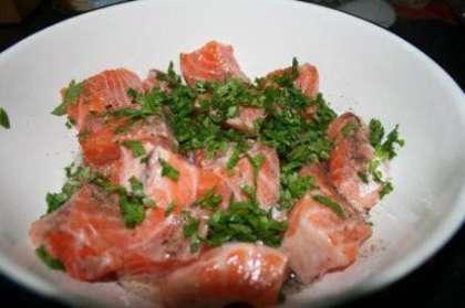 1 способ приготовления шашлыка из красной рыбы на решетке: филе любой красной рыбы нарежьте прямоугольными кусочками.  Посолите, поперчите, полейте оливковым маслом и соком лимона, добавьте нарезанную петрушку.