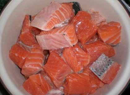 3 способ приготовления шашлыка из красной рыбы на решетке: нарежьте рыбу порционными кусками и сложите в кастрюлю. Сверху посыпьте солью и свежемолотым перцем.