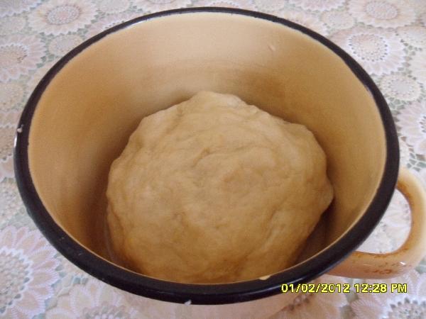 Руками замесите тесто. Положите его в смазанную маслом миску и накройте чистым полотенцем или пищевой пленкой, чтобы тесто увеличилось вдвое. Поставьте в теплое место.