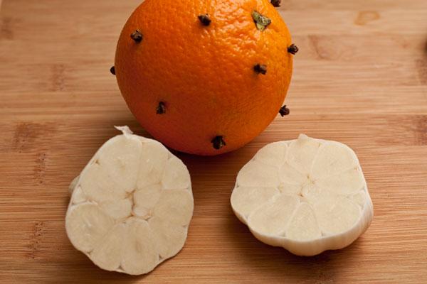 Апельсин хорошо вымойте, опустите в кипяток на 2-3 минуты, затем воткните в кожуру бутоны гвоздики. Чеснок разрежьте пополам поперек головки.<br><br>  Апельсин и чеснок поместите внутрь птицы. Зашейте отверстие подходящими нитками или закрепите деревянными зубочистками.