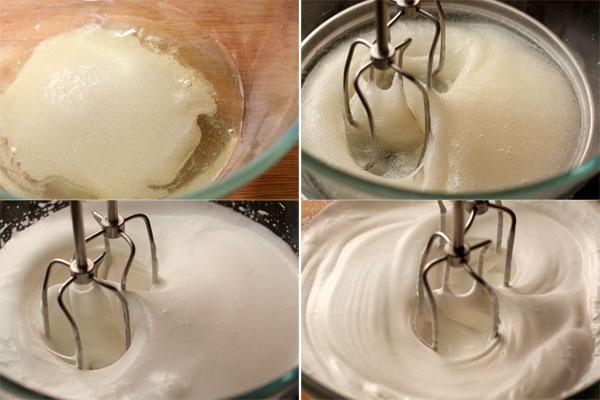 В белки добавьте сахар, 2 ст.л. воды, чайную ложку лимонного сока, поставьте на водяную баню и взбивайте сначала 4 минуты на маленькой скорости, пока сахар не растворится, потом увеличьте скорость до максимума и взбивайте еще 4 минуты. Крем сильно загустеет, его надо снять с огня и продолжать взбивать еще 3-4 минуты, пока он не остынет.