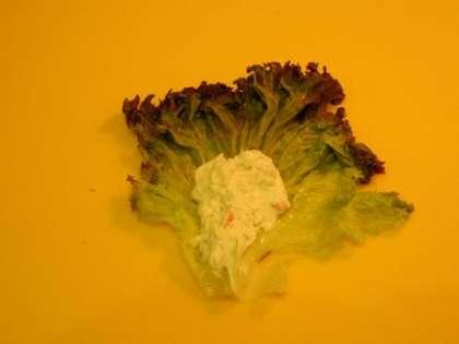 Выложить чайную ложку массы на лист салата