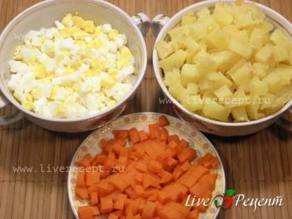 """Чтобы приготовить салат """"Столичный"""" с курицей и грибами, овощи и яйца отвариваем, чистим и нарезаем мелкими кубиками."""