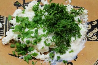 Добавляем мелко порезанный зеленый лук и укроп. Творожную массу перемешиваем.