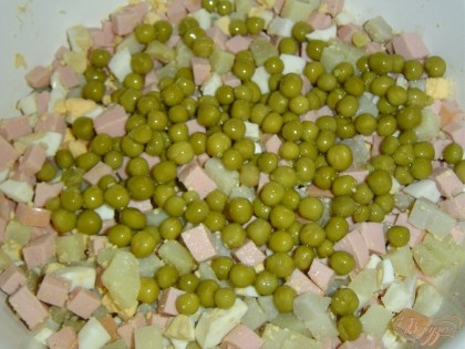 Консервированный горошек отцеживаем и добавляем к картофелю,яйцам,ветчине.