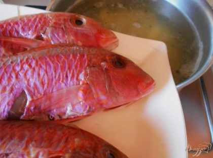Когда картофель станет мягким, бросаем в бульон рыбу. Варим ее в бульоне буквально 10 минут и достаем тушку, а головы оставляем в супе. Снимаем пену, которая будет образовываться, чтобы бульон был прозрачным.