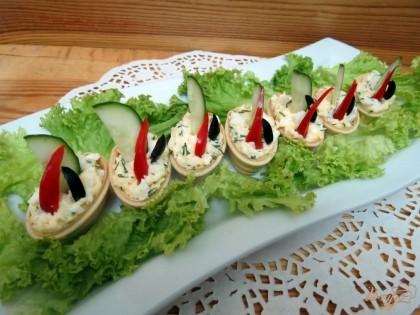 Украшение к салатам с фото в тарталетках