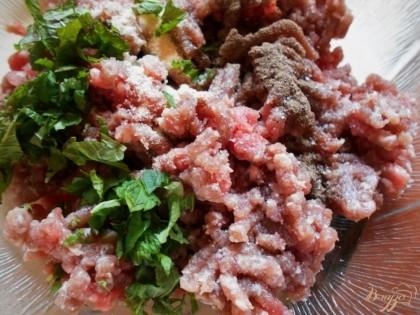 Тем временем приготовим мясные шарики. Для этого смешаем фарш ( у меня свино-говяжий) с мелкопорубленной зеленью мяты, соль, сушеный чеснок и черный молотый перец.