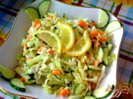Салаты с белокочанной капустой с фото