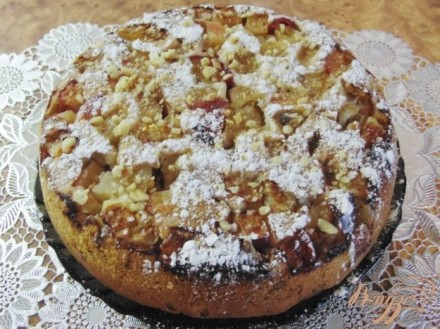 Яблочный пирог с грецкими орехами рецепт