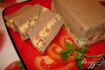 Полосатый печеночный паштет из куриной (индющиной) печени с сыром