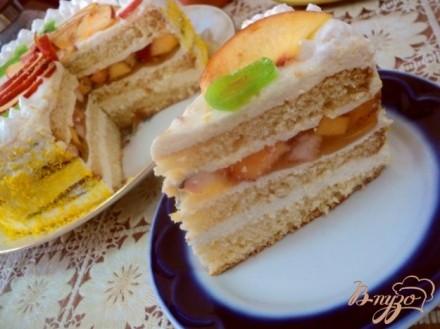 Бисквитный торт рецепт с фруктами фото