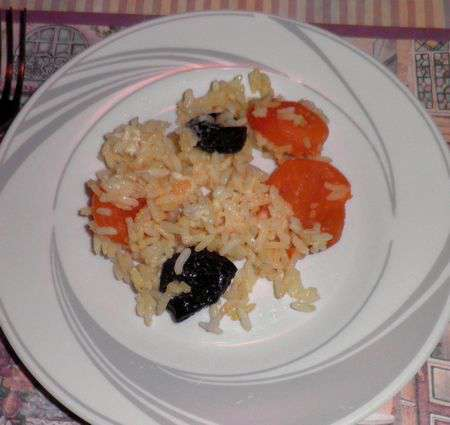 Рисовая каша с курагой и черносливом