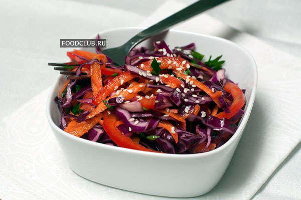 Овощной салат с красной капустой